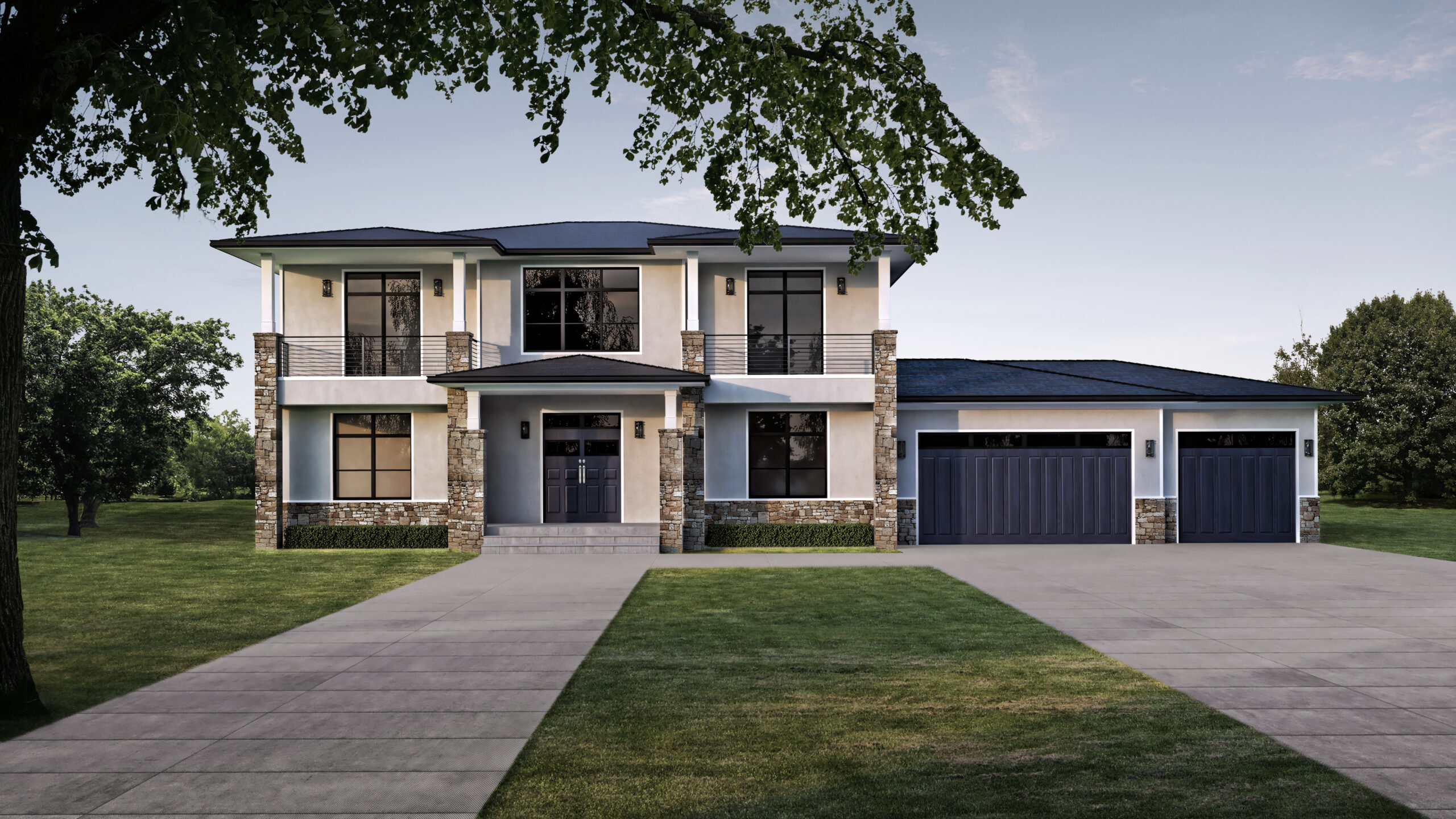Model 3 – 3,884 sq. ft. 2 Story – 4 Bedroom, 3 ½ Bath, Panoramic doors to large rear deck -Contemp.